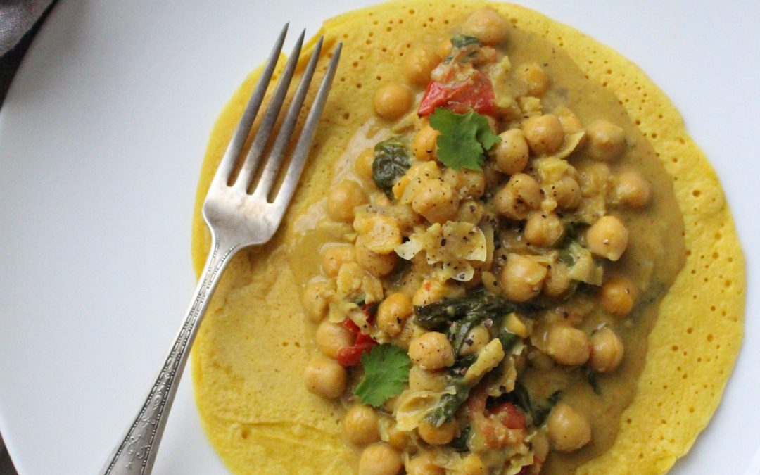 Indian Chickpea Curry with Dosa