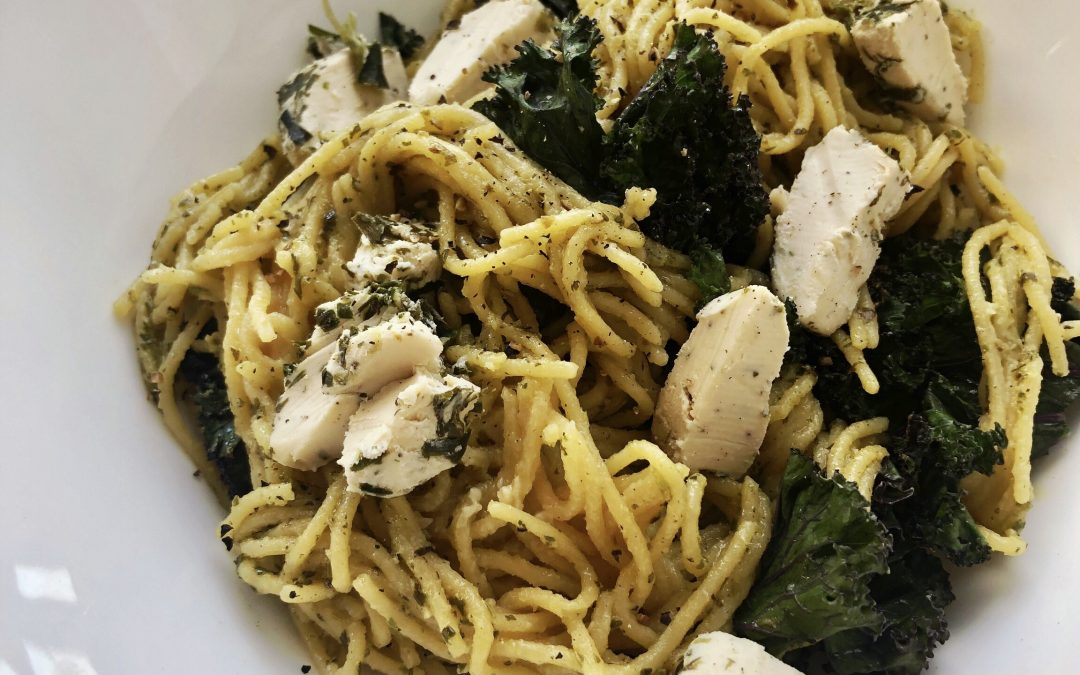 Chickpea Spaghetti with Pesto and Cashew Cheese
