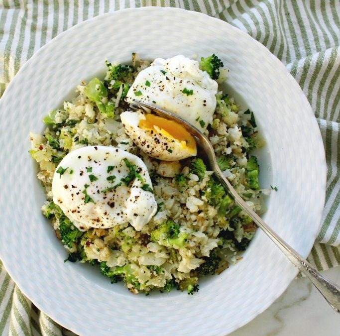Cauliflower Broccoli Rice with Poached Eggs